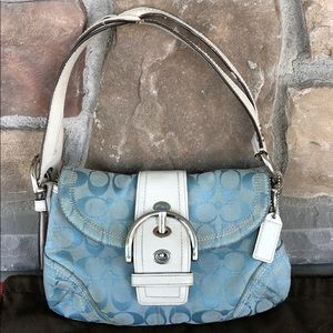 Authentic Blue & Silver White Leather Coach Purse
